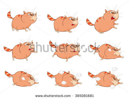 Character clipart to use for storyboarding. Vector cartoon cute cat