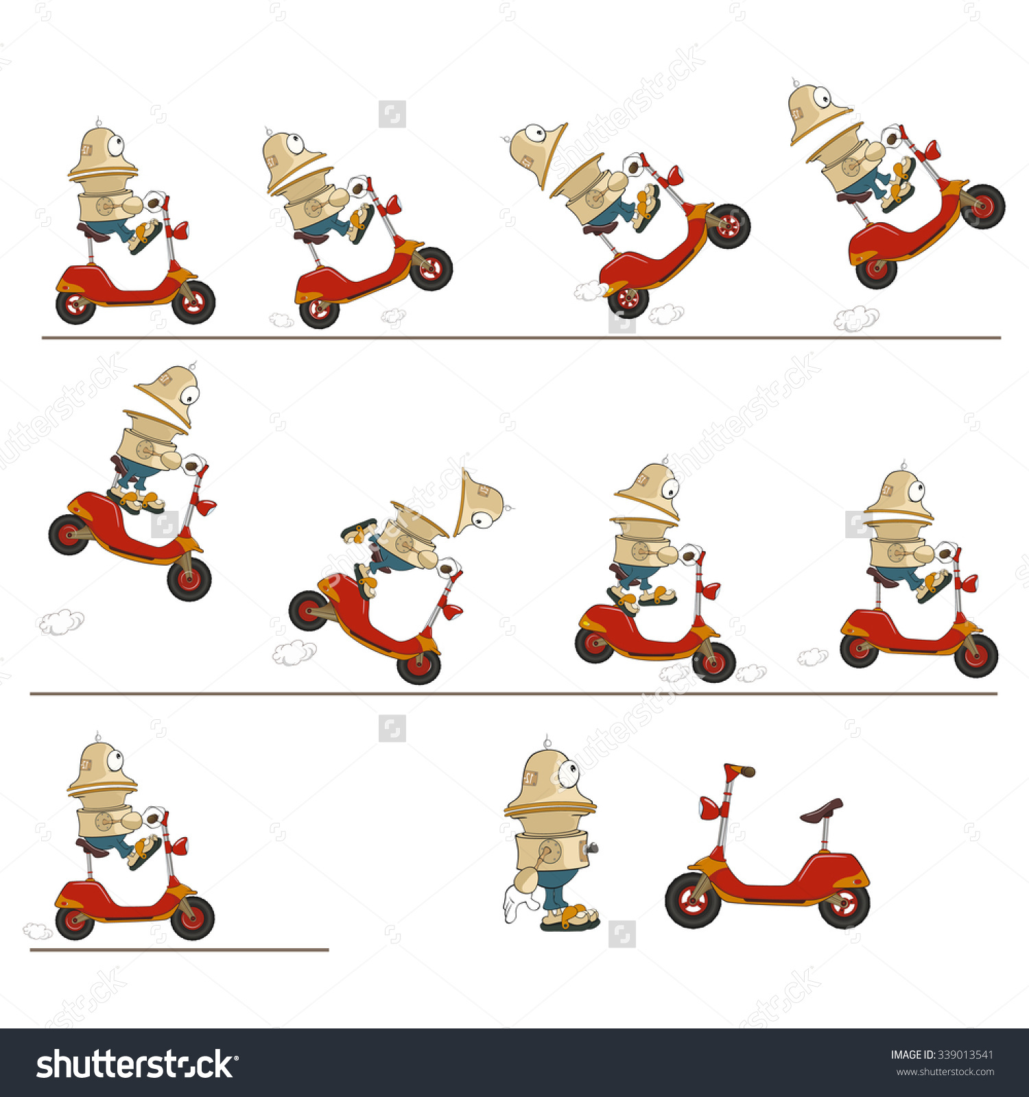 Character clipart to use for storyboarding jpg freeuse Vector Cartoon Character Cute Robot Scooter Stock Vector 339013541 ... jpg freeuse