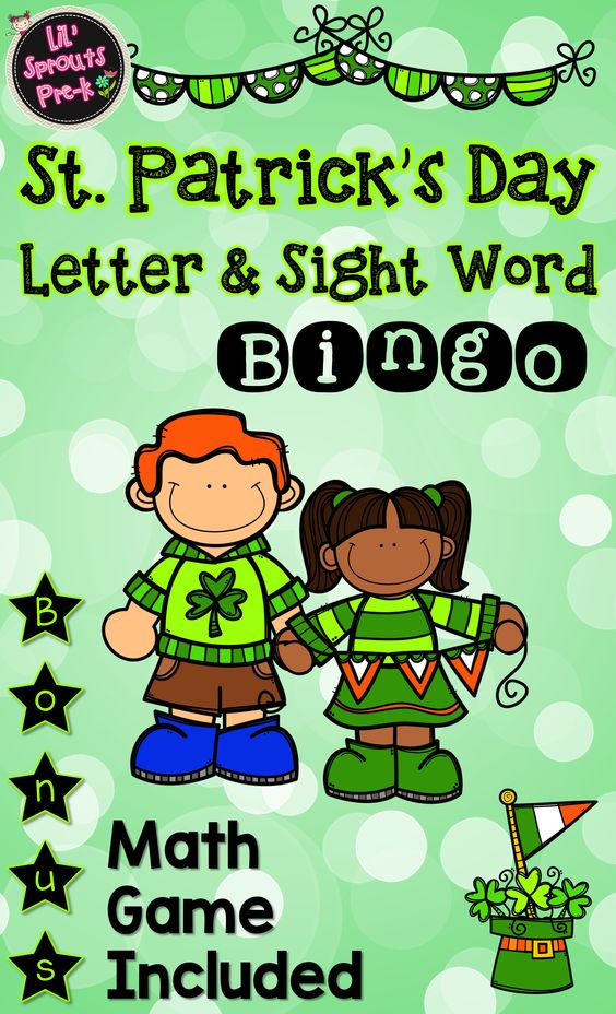 Character day in pre k clipart clipart free Pre-K St. Patrick's Day Bingo - Practice letters and sight words ... clipart free