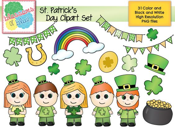 Character day in prek clipart png download Cute St. Patrick's Day Clipart. Shamrocks, rainbow, banners, etc ... png download