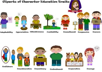 Character education clipart free stock Modified Lessons Clipart of Character Education Traits (1-13) free stock