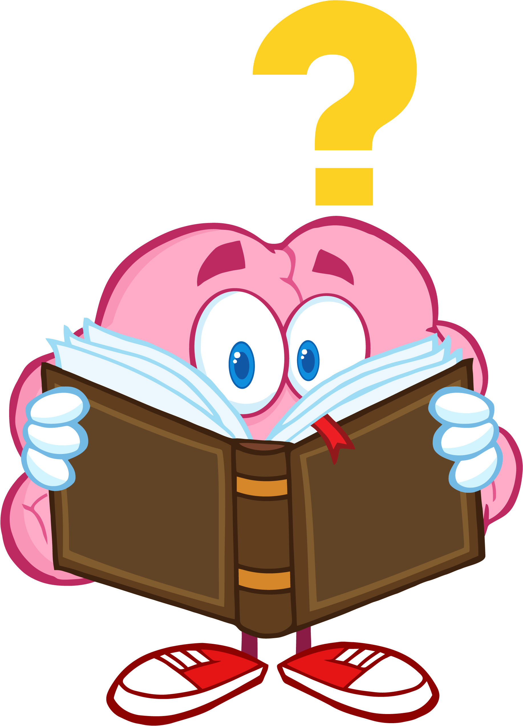 Reading question kid on. Character in book clipart