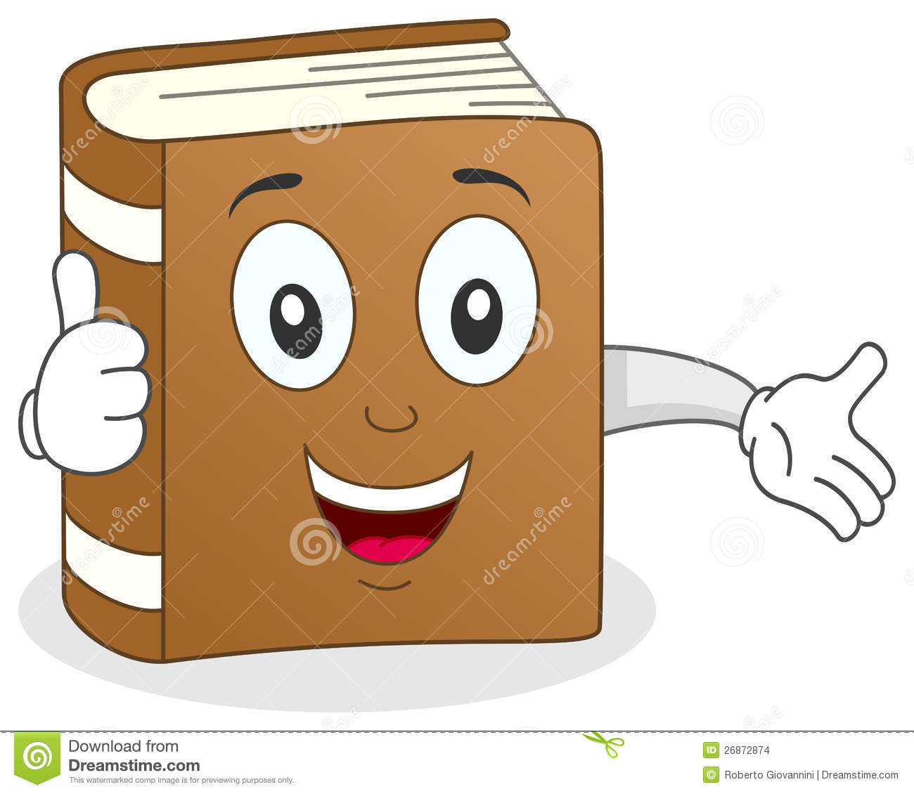 Funny clipartfest thumbs up. Character in book clipart