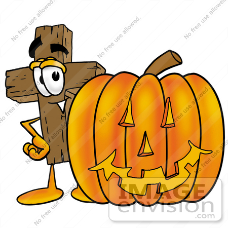 Character pumpkin clipart png library library Clip Art Graphic of a Wooden Cross Cartoon Character With a Carved ... png library library