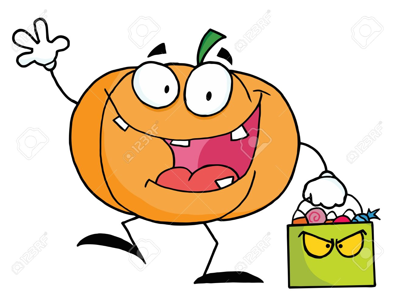 Character pumpkin clipart graphic download Pumpkin Character Waving And Carrying A Green Trick Or Treat ... graphic download
