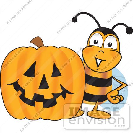 Character pumpkin clipart clip black and white Clip art Graphic of a Honey Bee Cartoon Character With a Carved ... clip black and white