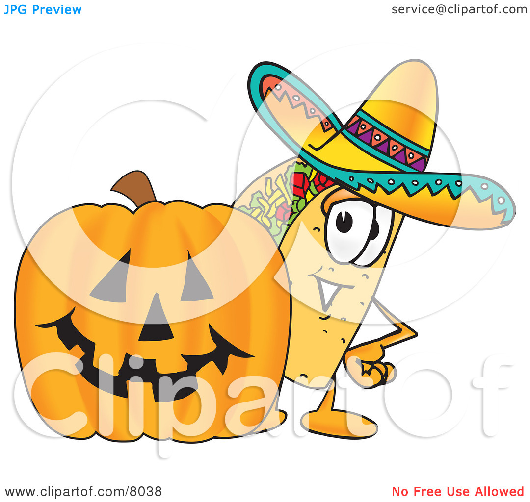Character pumpkin clipart image free Clipart Picture of a Taco Mascot Cartoon Character With a Carved ... image free