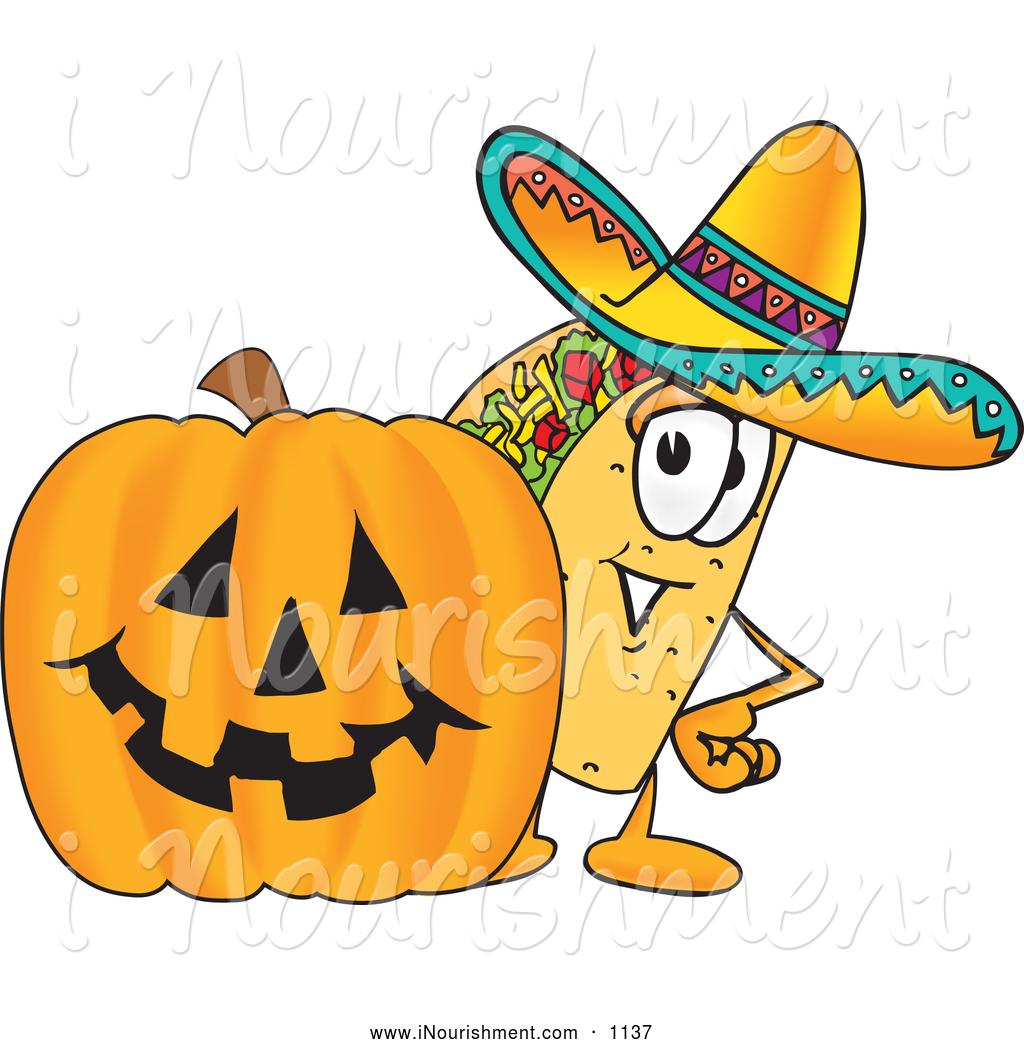 Character pumpkin clipart clip art royalty free stock Clipart of a Mexican Taco Mascot Cartoon Character with a Carved ... clip art royalty free stock