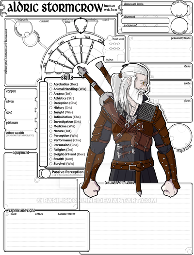 Character sheet clipart png transparent stock Commissioned Character Sheet (5e DnD) Aldric by BasiliskOnline on ... png transparent stock