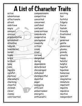 Character traits vector free library A List of Character Traits by Mrs. R. | Teachers Pay Teachers vector free library