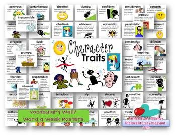 Character Traits Adjectives definitions and activity packet | To ... royalty free library