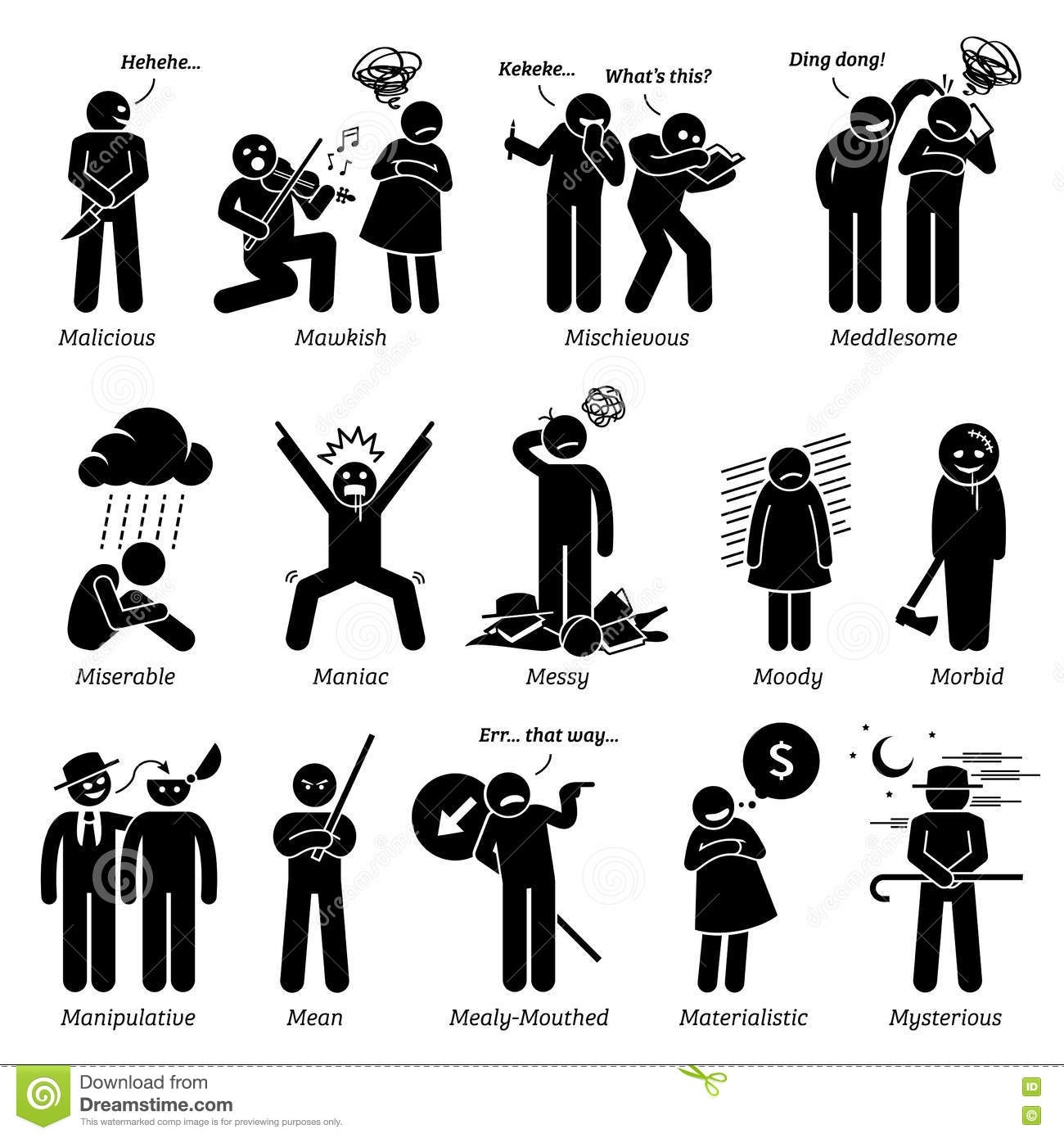 Negative Bad Personalities Character Traits Clipart Stock Vector ... clip black and white stock