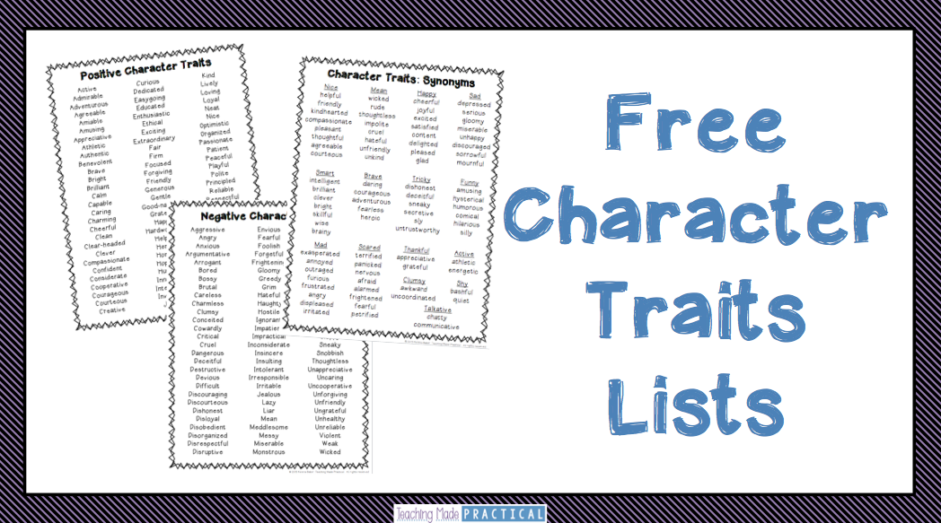 Character traits list vector freeuse stock Free Character Traits List - Teaching Made Practical vector freeuse stock