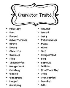 Character traits list graphic royalty free Halloween Opinion Writing | List of characters, List of character ... graphic royalty free