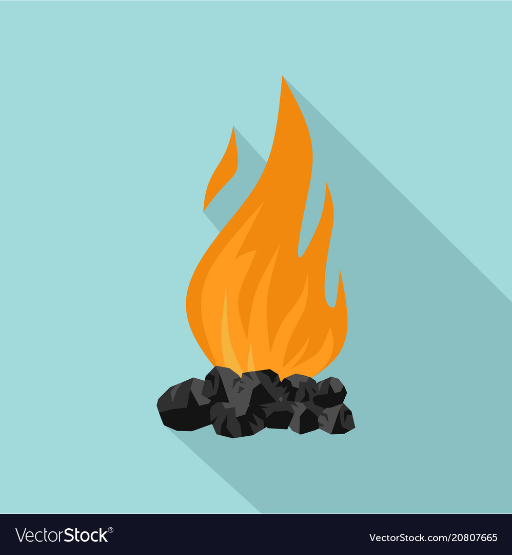 Charcoal fire clipart graphic library library Coal fire icon flat style graphic library library