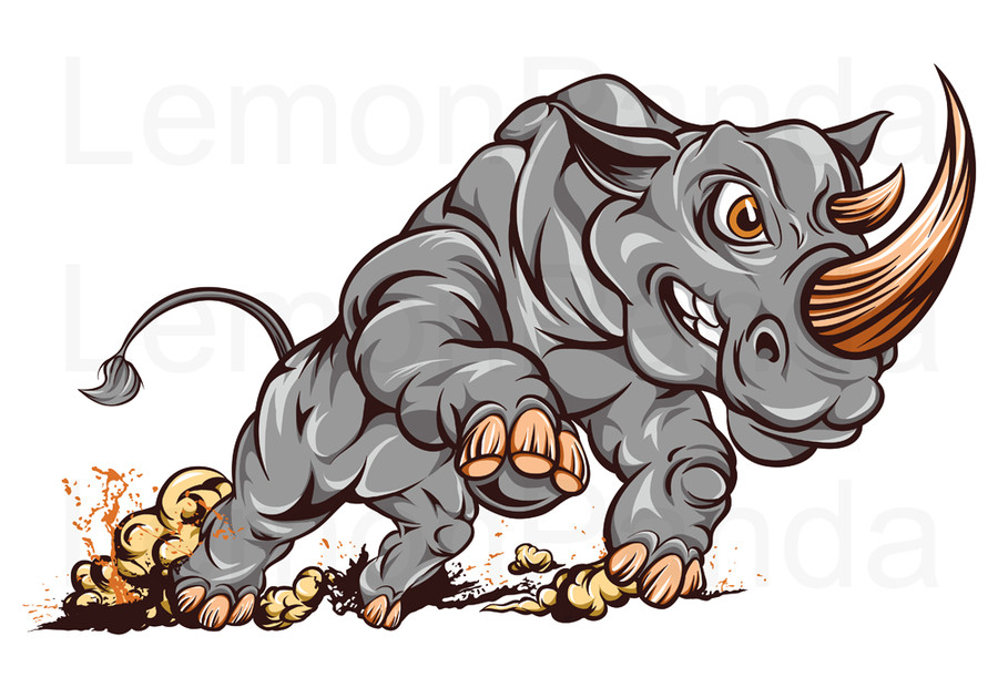 Charging rhino clipart graphic free Entry #23 by lemonpanda for Illustrate Something for Charging Rhino ... graphic free