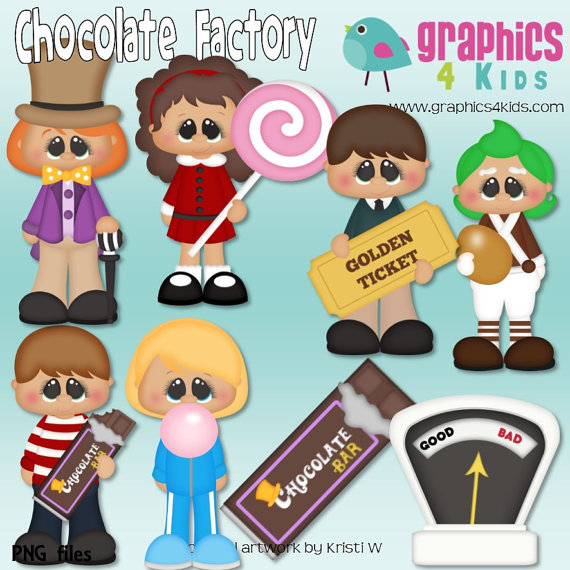Charlie and the chocolate factory candy clipart freeuse library Chocolate Factory Willy Wonka Digital Clipart - Clip art for ... freeuse library