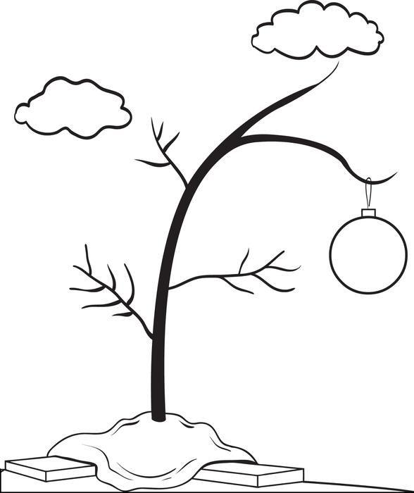 Printable s tree coloring. Free black and white charlie brown christmas clipart