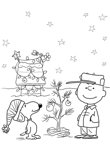 Free black and white charlie brown christmas clipart graphic transparent download Charlie Brown Christmas coloring page | Free Printable Coloring Pages graphic transparent download
