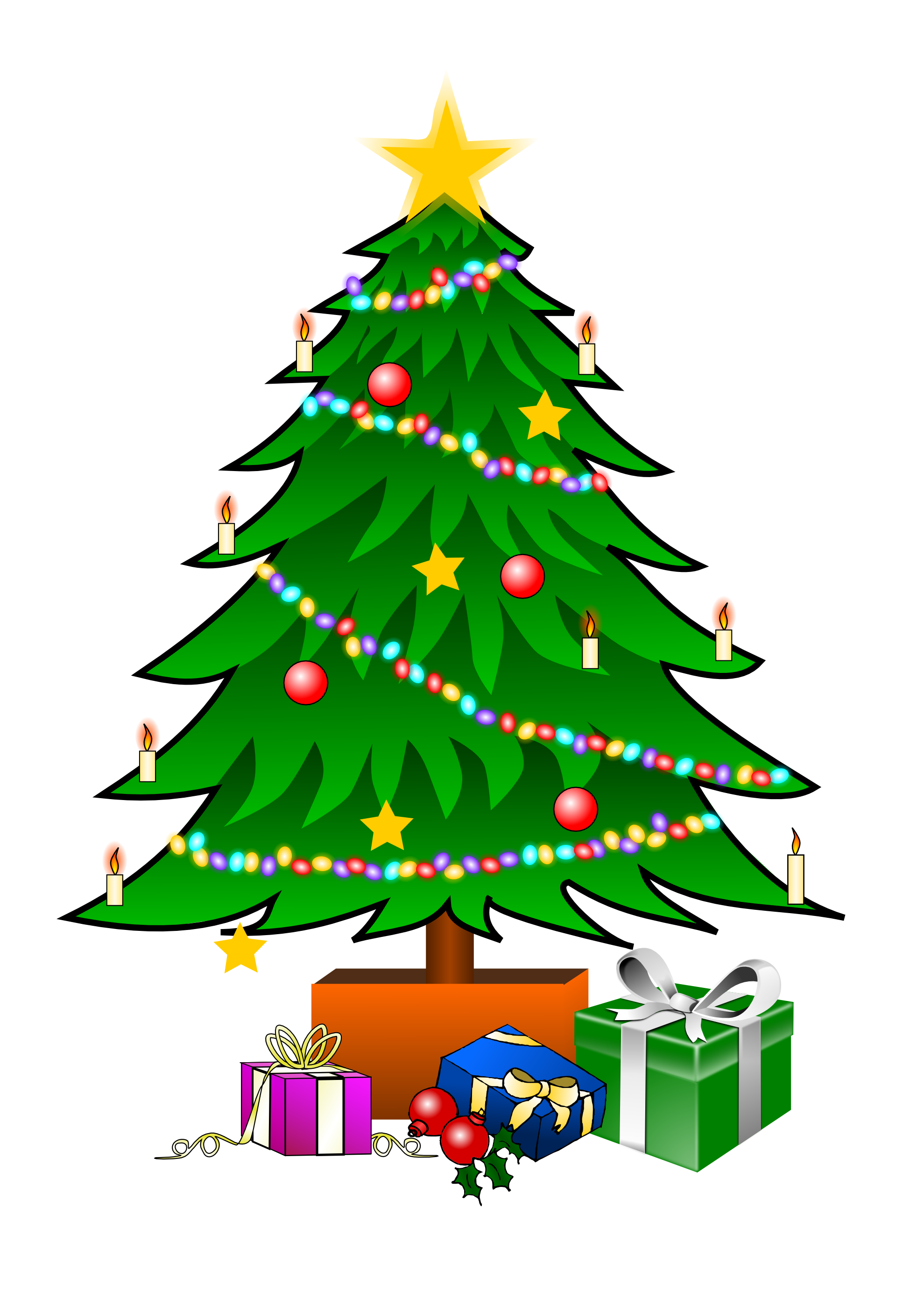 Turkey looking at christmas tree clipart picture freeuse download Christmas tree clip art is a fun way to add one of the most symbolic ... picture freeuse download