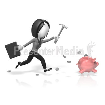 Chase bank clipart clipart library download Business Woman Chase Piggy Bank - Presentation Clipart - Great ... clipart library download