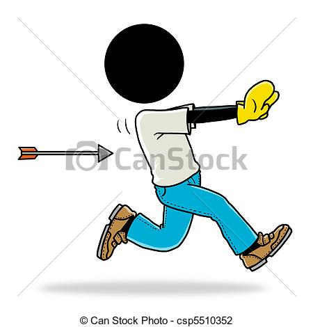 Chase clipart jpg library stock Clip Art of chase by arrow - Silhouette-man unlucky day - chase by ... jpg library stock