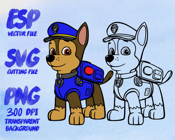 Chase paw patrol clipart banner download Chase Paw Patrol Clipart SVG Cutting ESP Vectors files T banner download