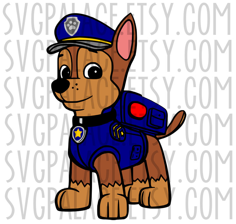 Chase the dog from paw partols clipart clipart royalty free download Paw Patrol Chase Pup SVG Cut File. Cricut Explore. SCAL. MTC. clipart royalty free download