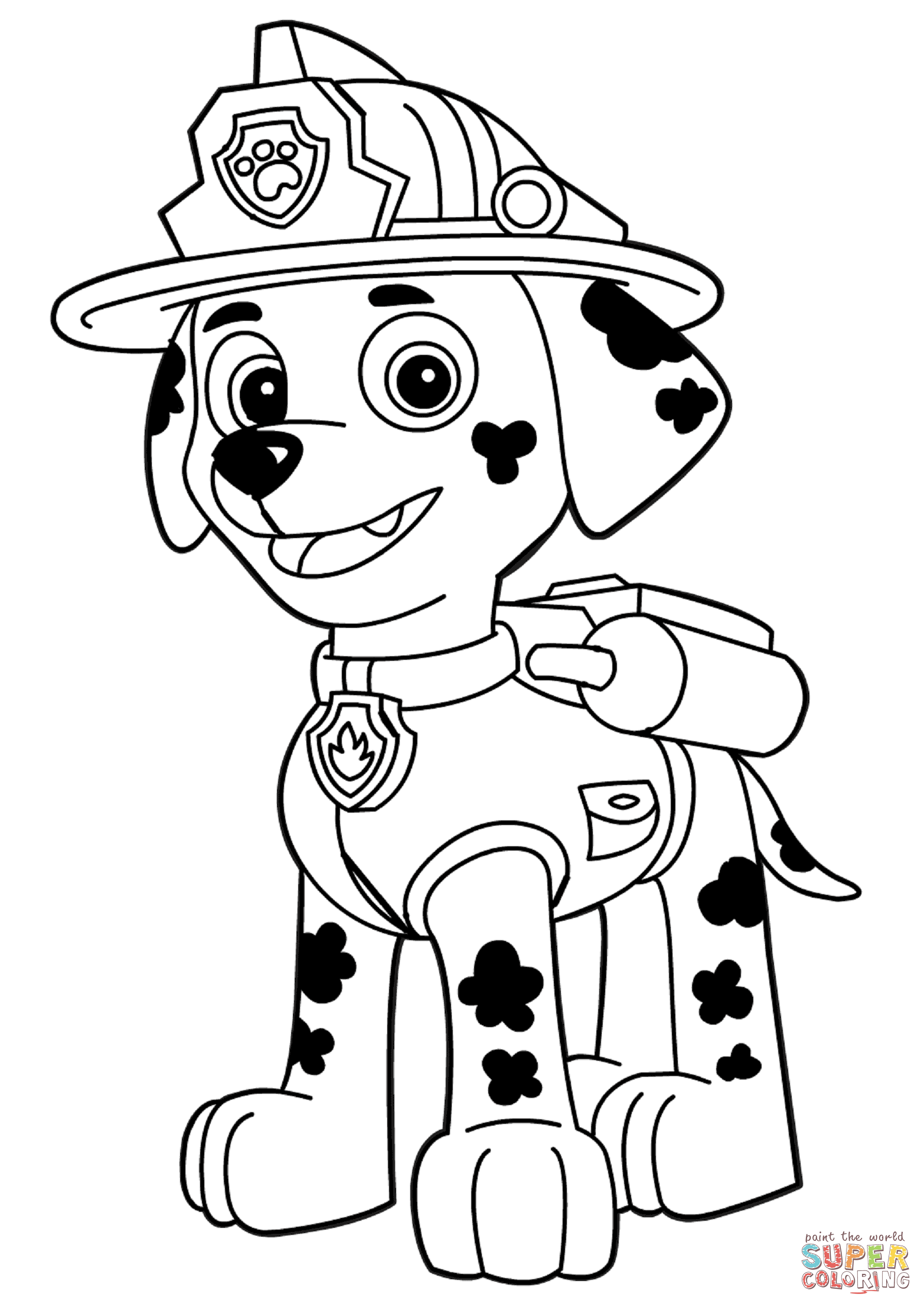 Chase the dog from paw partols clipart coloring page graphic library Paw Patrol Marshall coloring page | Free Printable Coloring Pages graphic library
