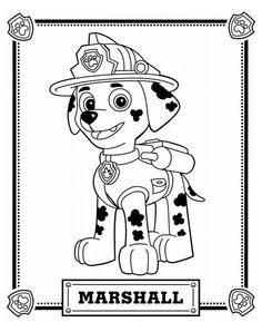 Chase the dog from paw partols clipart coloring page graphic freeuse PAW Patrol marshal Coloring Pages | Paw Patrol | PAT PATROUILLE ... graphic freeuse