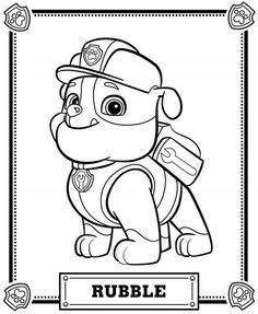 Chase the dog from paw partols clipart coloring page black and white Paw patrol coloring pages | Disney, Coloring and Pumpkins black and white