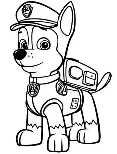 Chase the dog from paw partols clipart coloring page image black and white stock Paw patrol coloring pages | Disney, Coloring and Pumpkins image black and white stock