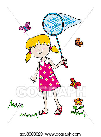Chasing butterflies clipart banner free stock Stock Illustration - Little girl chasing butterflies. Clip Art ... banner free stock