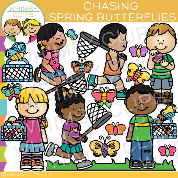 Chasing butterflies clipart library Kids Chasing Spring Butterflies Clip Art   Spring Clip Art ... library