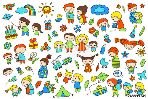 Cheap vector clipart banner freeuse stock Traditional family with parents and children. Child birthday baby ... banner freeuse stock