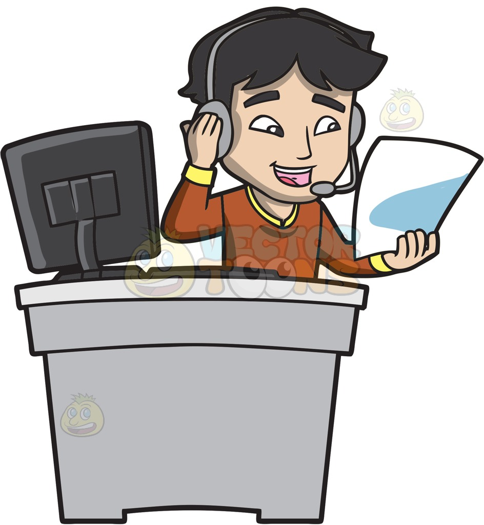 A Call Center Agent Reading His Cheat Sheet Cartoon Clipart png black and white