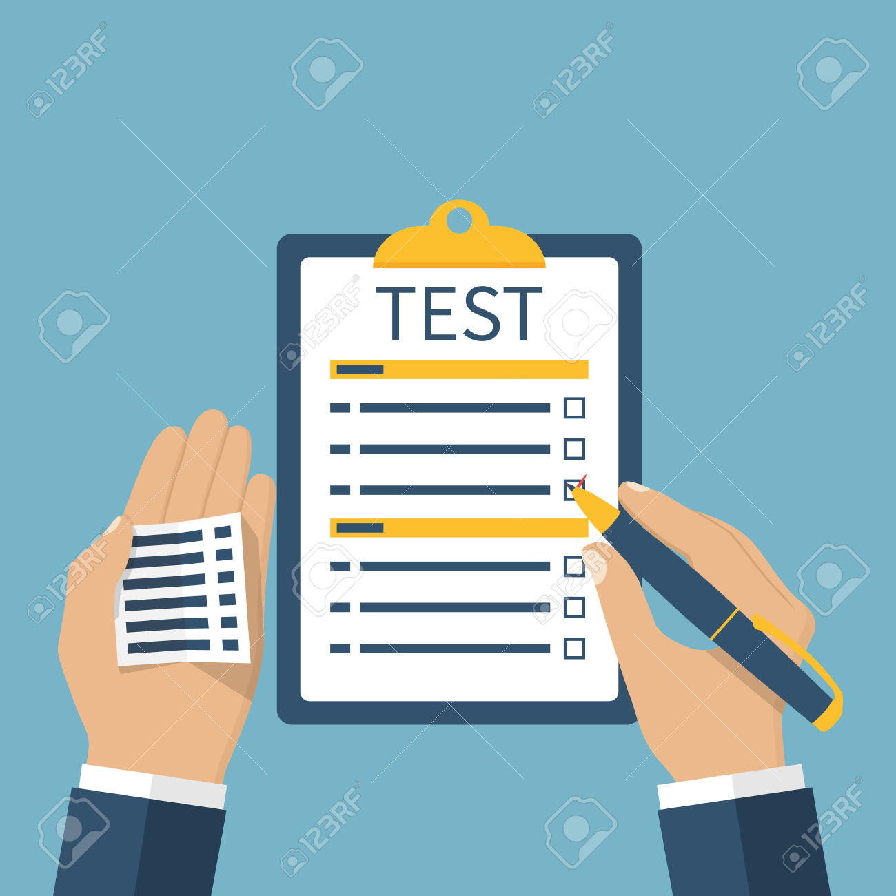 Man On The Exam Is Tested. Cheat Sheet In Hand, Cheating On The ... clipart freeuse