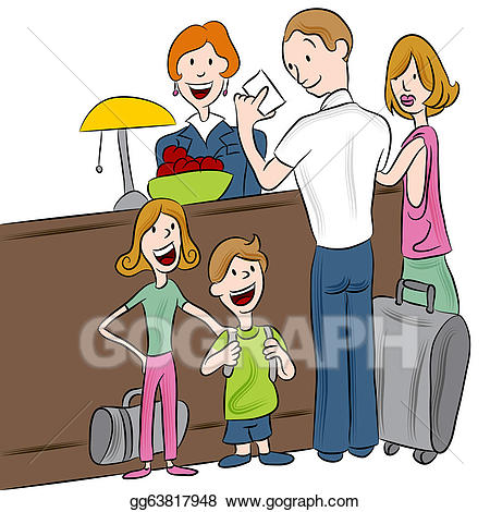Checking into hotel clipart black and white svg freeuse download Vector Clipart - Hotel check-in family. Vector Illustration ... svg freeuse download