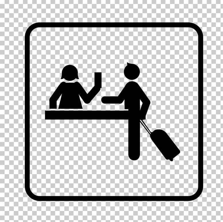 Checking into hotel clipart black and white download Hotel Check-in Receptionist PNG, Clipart, Area, Black, Black And ... download