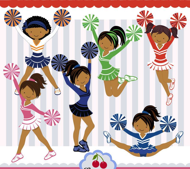Cheer leaders clipart png freeuse stock Dark Skin Cheerleaders,Dark Skin Girls,Cheerleaders clipart ... png freeuse stock