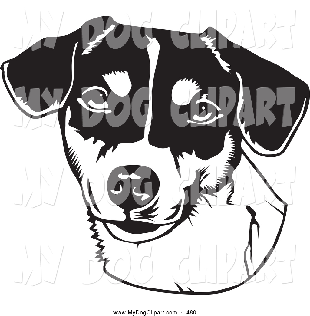 Cheerfulness clipart black and white picture black and white library Clip Art of a Cheerful Friendly Jack Russell Terrier Dog over a ... picture black and white library