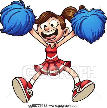 Cheerleader clipart animation graphic black and white Vector Stock Cartoon Cheerleader Clip Art Gg98776132 GoGraph Limited ... graphic black and white