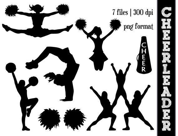 Cheerleader clipart silhouette vector transparent Cheerleader Silhouettes // Cheer Silhouette // Cheering Clipart ... vector transparent