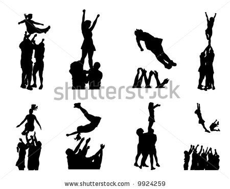 Cheerleader clipart svg banner black and white library Cheer Clip Art | Cheerleaders Stock Vector 9924259 : Shutterstock ... banner black and white library