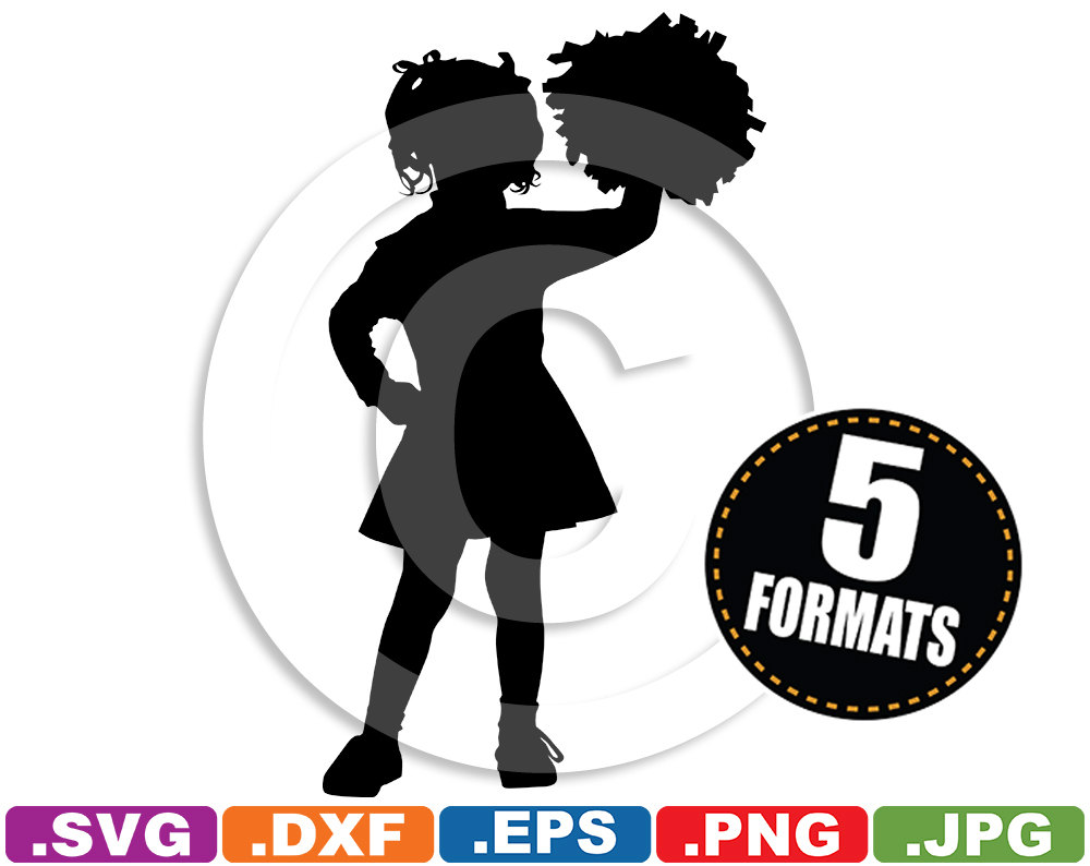 Cheerleader clipart svg clipart Little Girl Cheerleader Silhouette Clip Art Image svg & dxf clipart