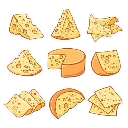 Cheese drawn isolated clipart clip library Set of hand drawn cheese isolated on white background.: Royalty-free ... clip library