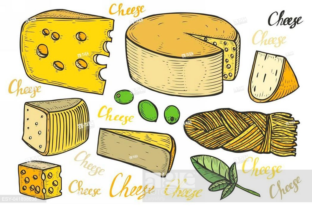Cheese drawn isolated clipart clip art royalty free Hand drawn Cheese set engraving illustration. Other types of milk ... clip art royalty free