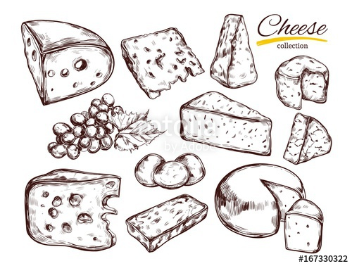 Cheese drawn isolated clipart image transparent library Cheese collection. Vector Hand drawn illustration of cheese types ... image transparent library