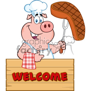 Chef cartoon free clipart svg library stock 10722 Royalty Free Clipart Chef Pig Cartoon Mascot Character Holding A  Cooked Steak On A Bbq Fork Over A Wooden Sign Giving A Thumb Up Vector With  ... svg library stock