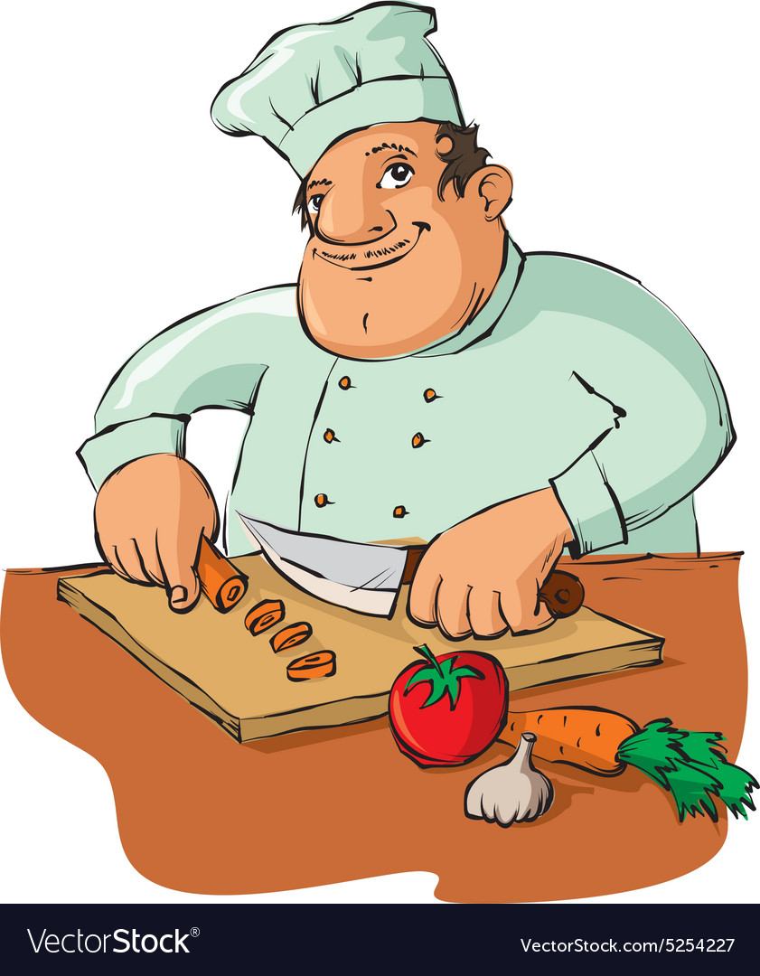 Chef chopping clipart clip black and white stock Chef cutting vegetables clip black and white stock